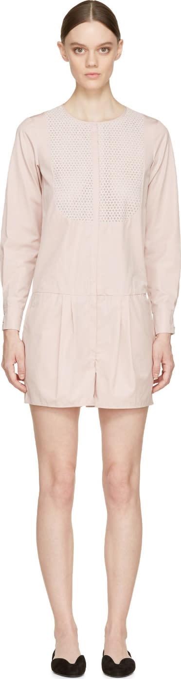 Nina Ricci Petal Pink Eyelet Lace Trim Romper