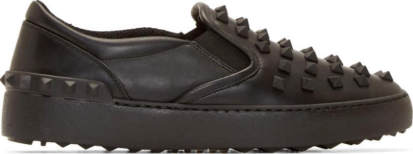 Valentino Black Rockstud Slip-on Sneakers