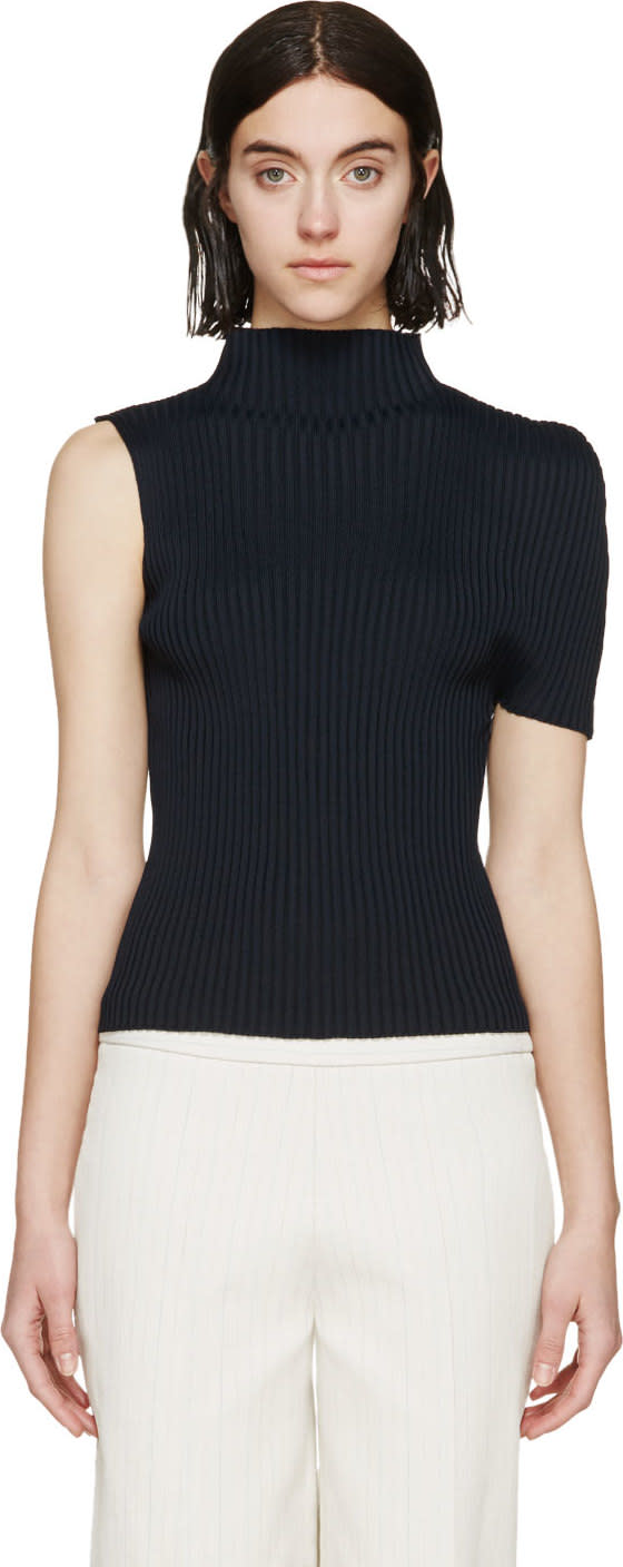 J.w. Anderson Navy Ribbed Cocoon Top