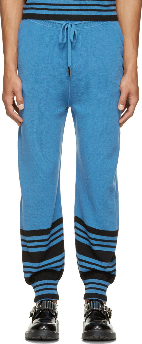 J.w. Anderson Blue Merino Wool Striped Show Tracksuit Pants