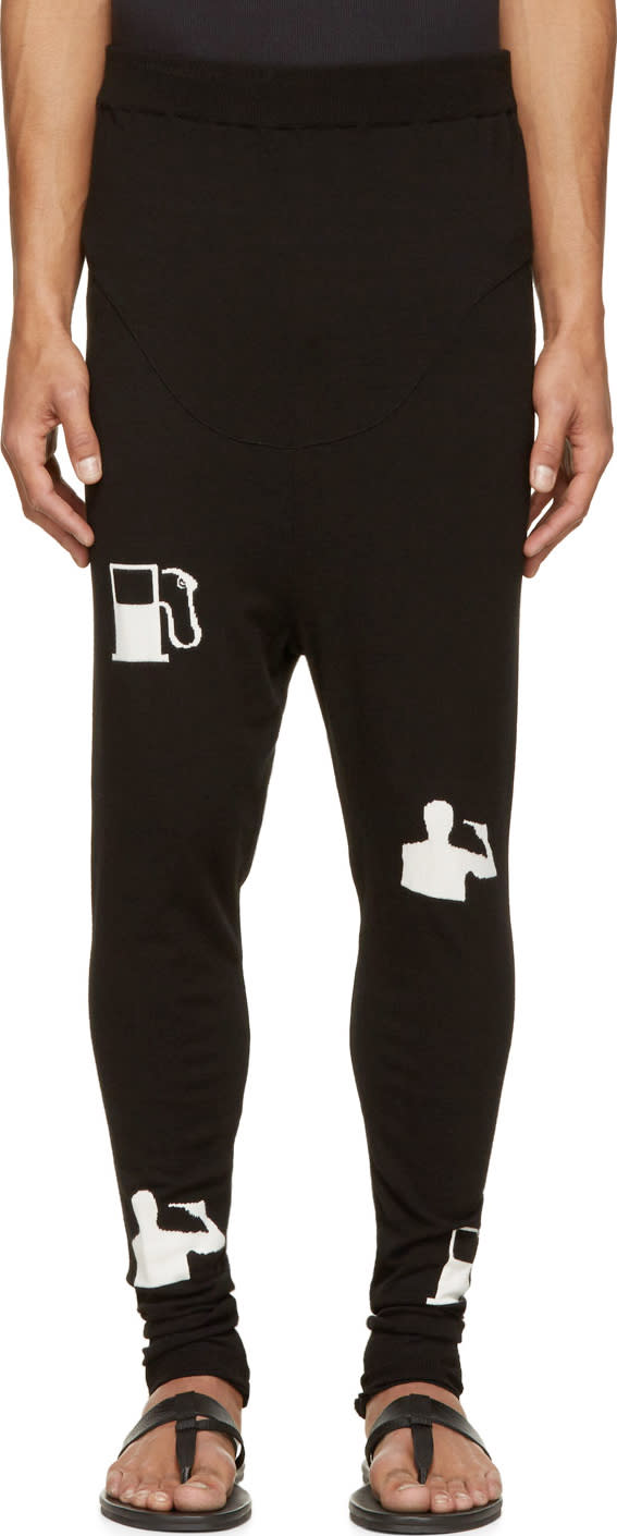 Thamanyah Black and White Tech Knit Lounge Pants