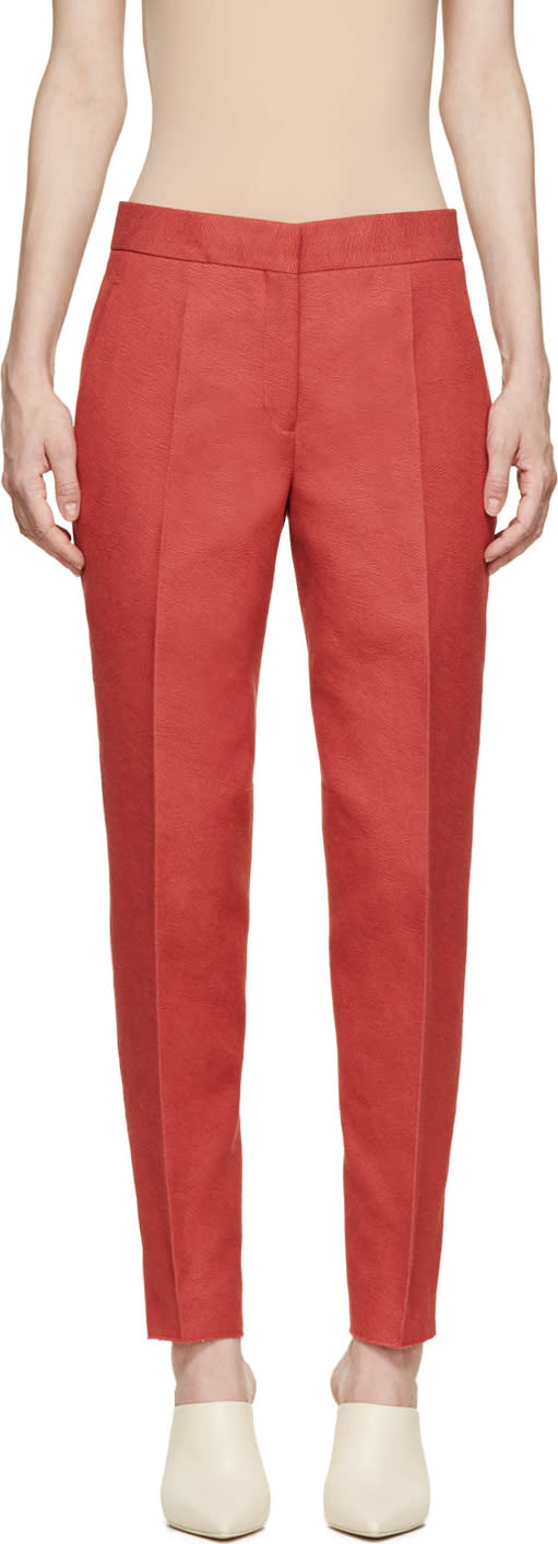 Calvin Klein Collection Red Belfair Cropped Trousers
