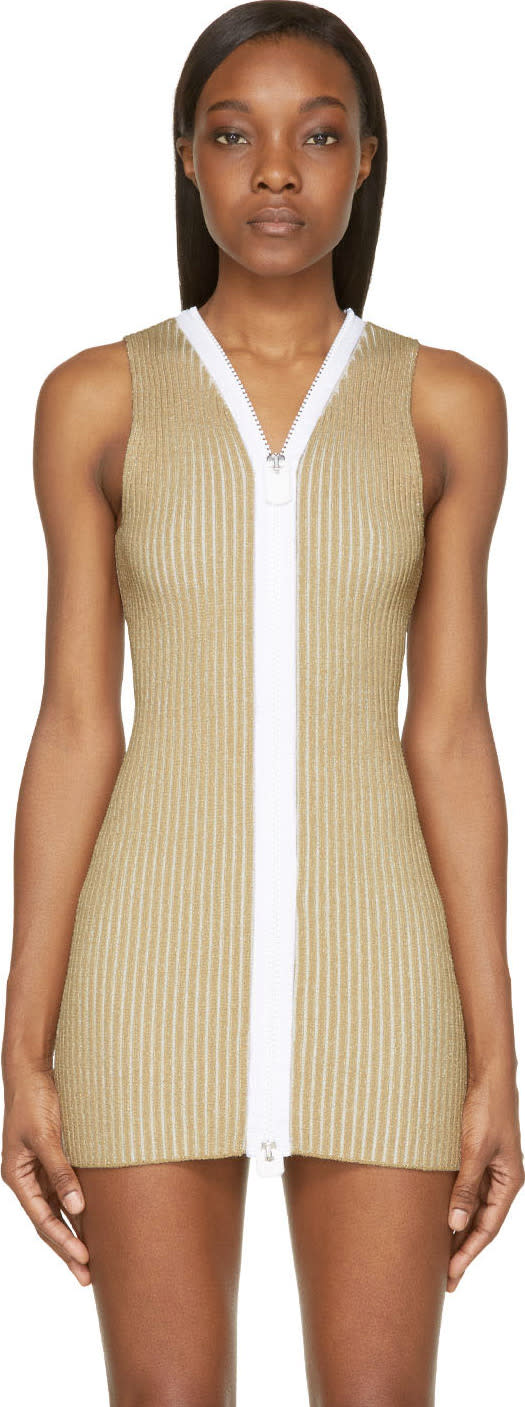 Image of Calvin Klein Collection Beige Ribbed Knit Red Dress