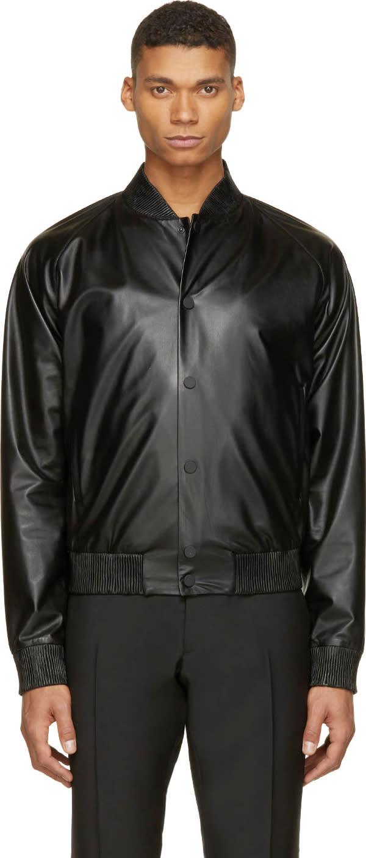 Calvin Klein Collection Black Leather Bomber Jacket