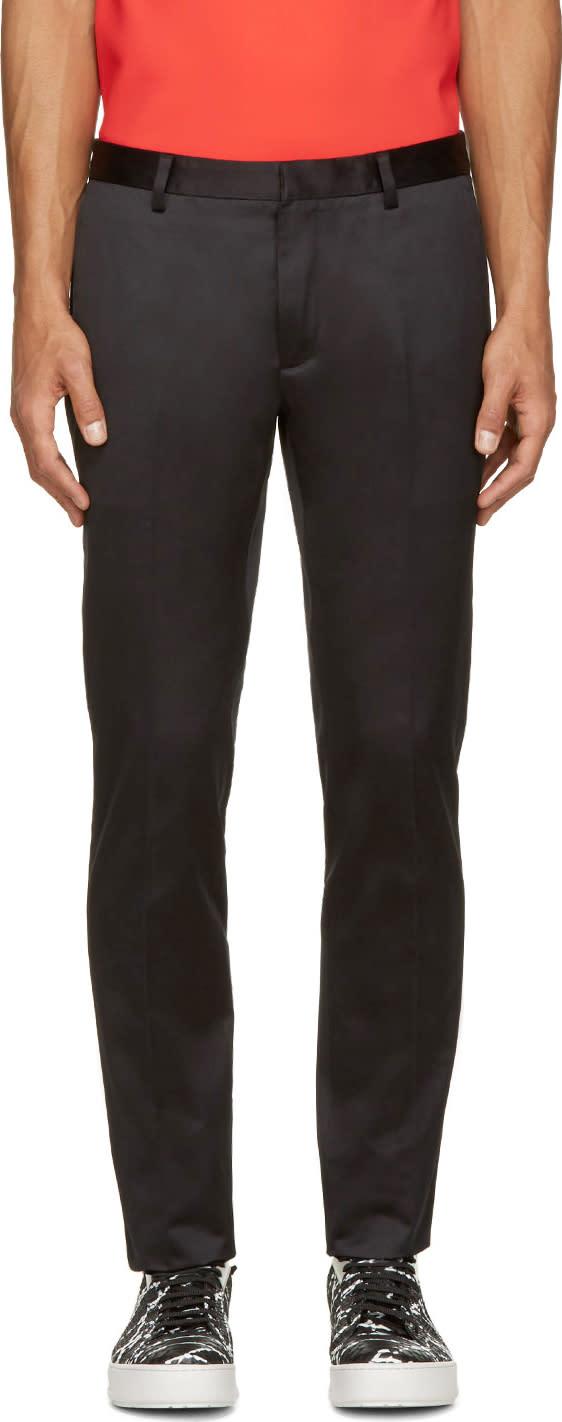Calvin Klein Collection Black Cotton Satin Exact Trousers