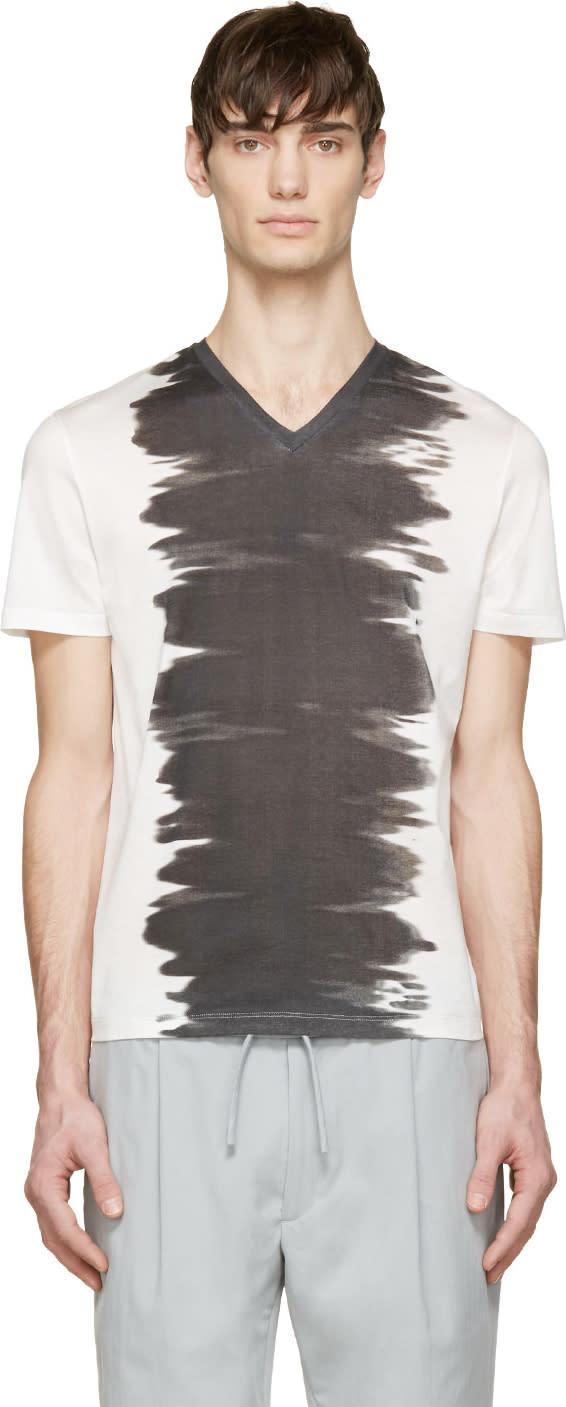 Calvin Klein Collection White and Black Watercolour T-shirt