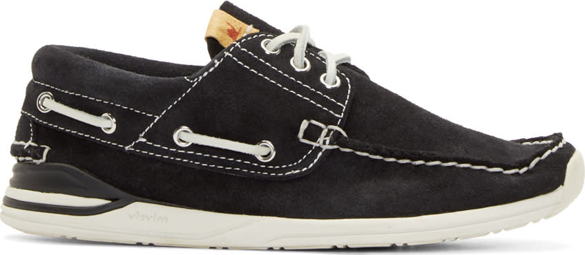 Visvim Black Suede Hockney Folk Deck Shoes