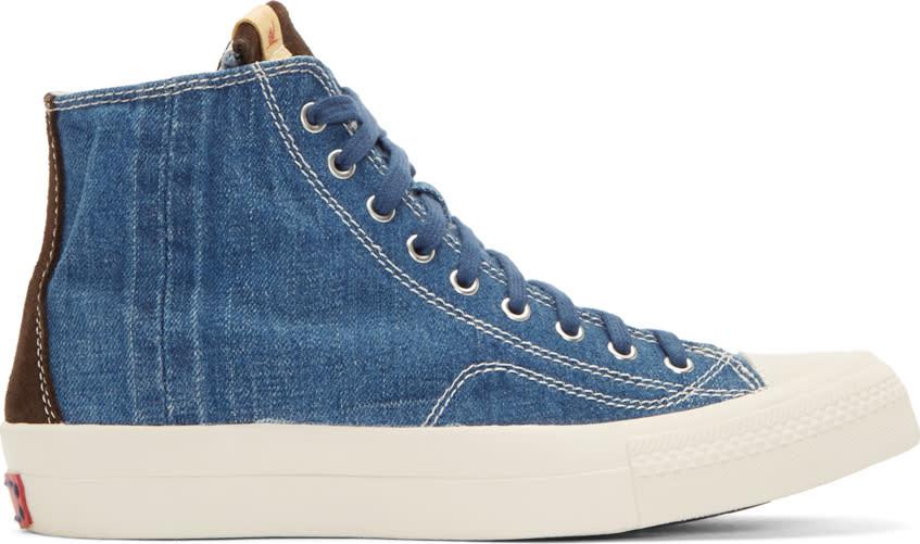 Visvim Blue Denim Skagway High-top Sneakers