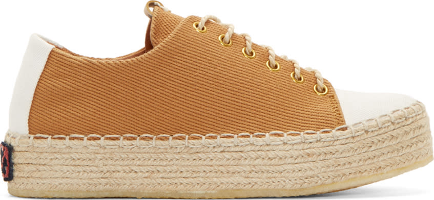 Visvim Brown Prima Folk Lace-up Sneakers