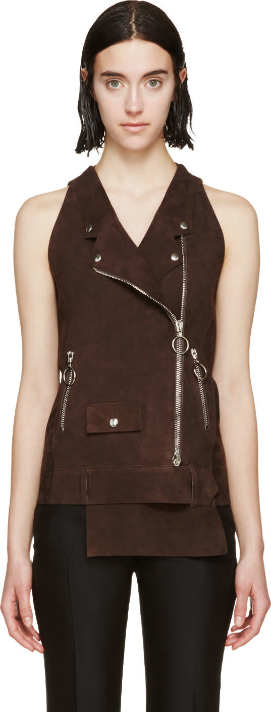Costume National Brown Suede Biker Vest