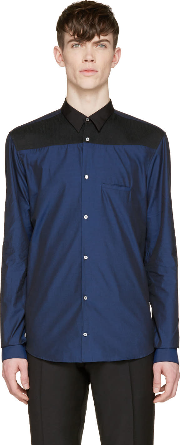 Costume National Navy Colorblock Button-up Shirt