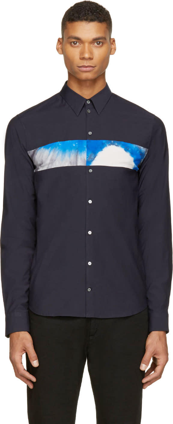 Costume National Navy Tie-dye Accent Shirt