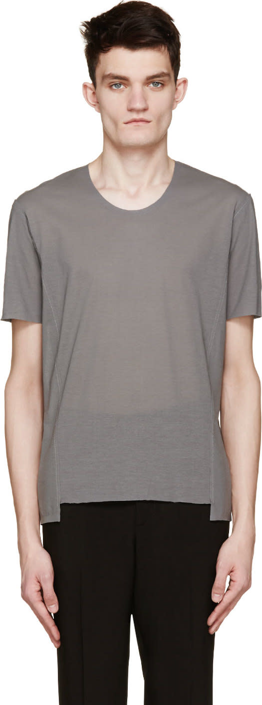 Image of Costume National Grey Exposed Seams T-shirt