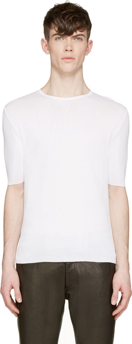 Costume National Off-white Stretch Knit T-shirt