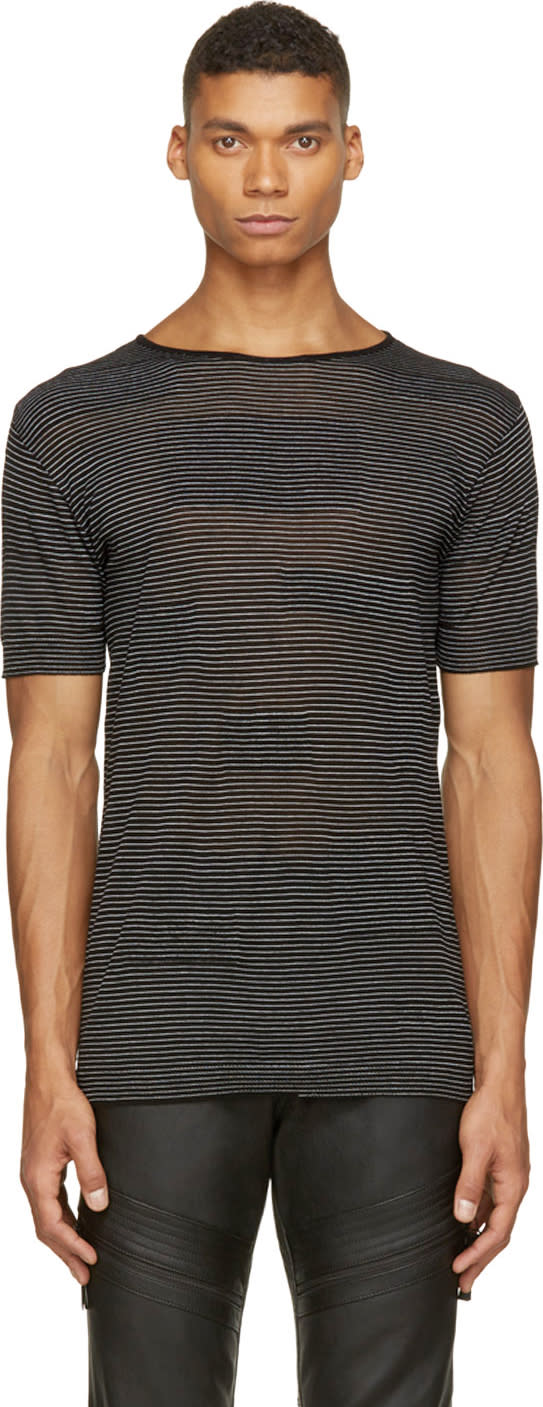 Costume National Black Alternating Knit T-shirt