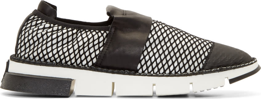 Cinzia Araia White Mesh Slip-on Shoes