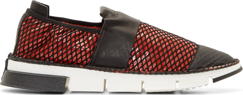 Image of Cinzia Araia Red Mesh Slip-on Shoes