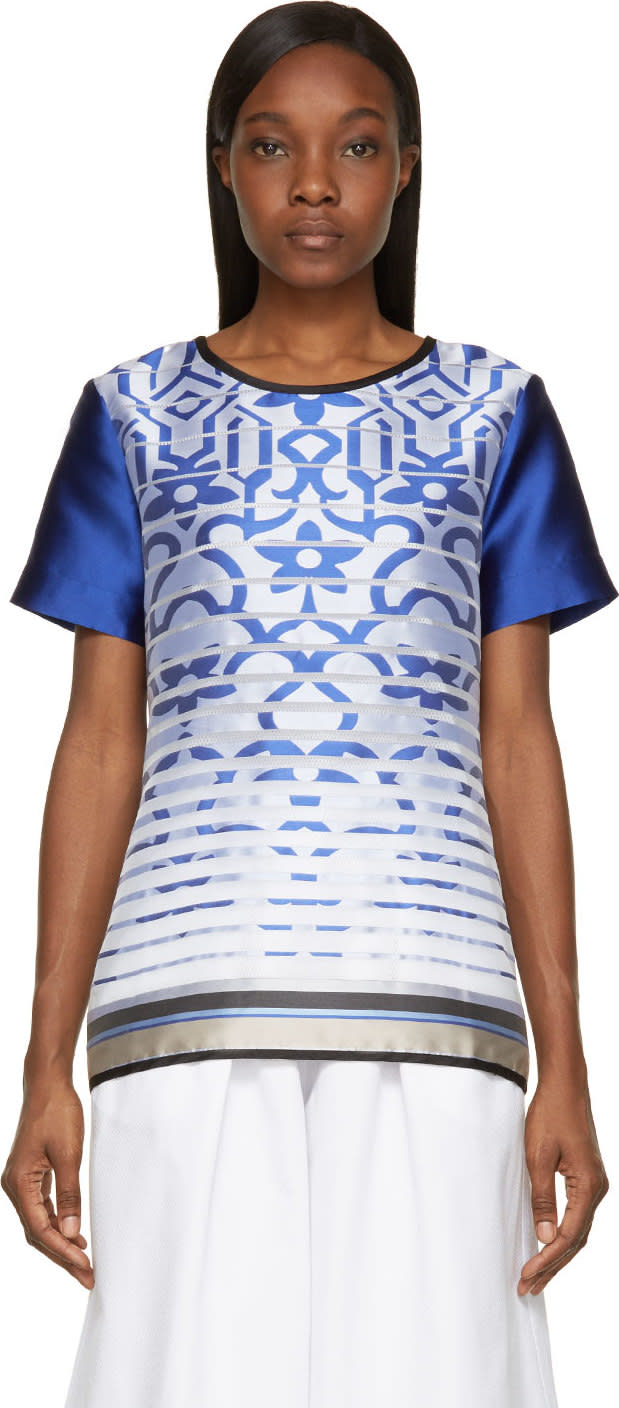 Image of Ostwald Helgason Royal Blue Satin Degraded Jacquard T-shirt