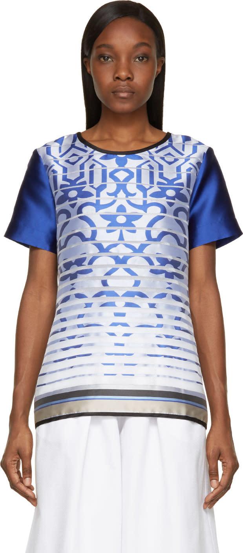 Ostwald Helgason Royal Blue Satin Degraded Jacquard T-shirt