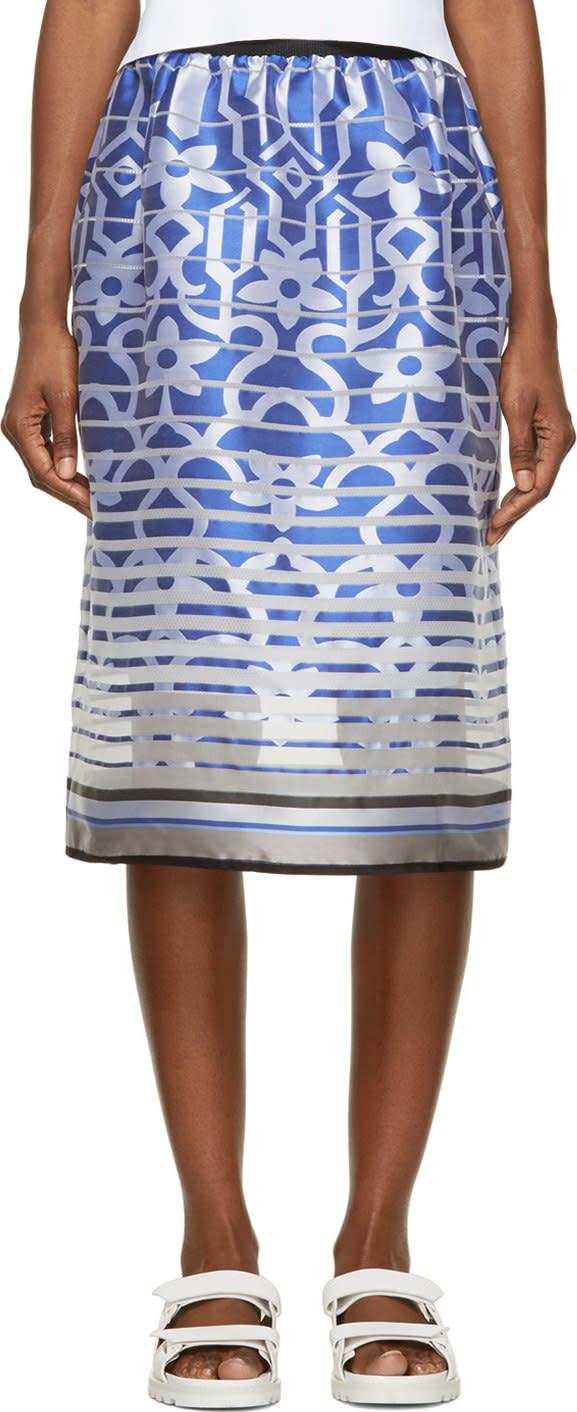 Ostwald Helgason Royal Blue Satin Degraded Jacquard Tea Skirt
