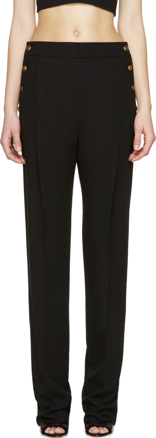 Anthony Vaccarello Black Buttoned Wide-leg Trousers