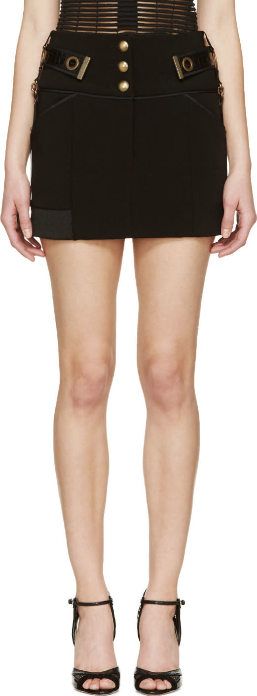Anthony Vaccarello Black Chained Belt Mini Skirt