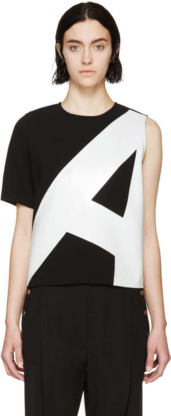 Anthony Vaccarello Black and Grey Asymmetric Shirt