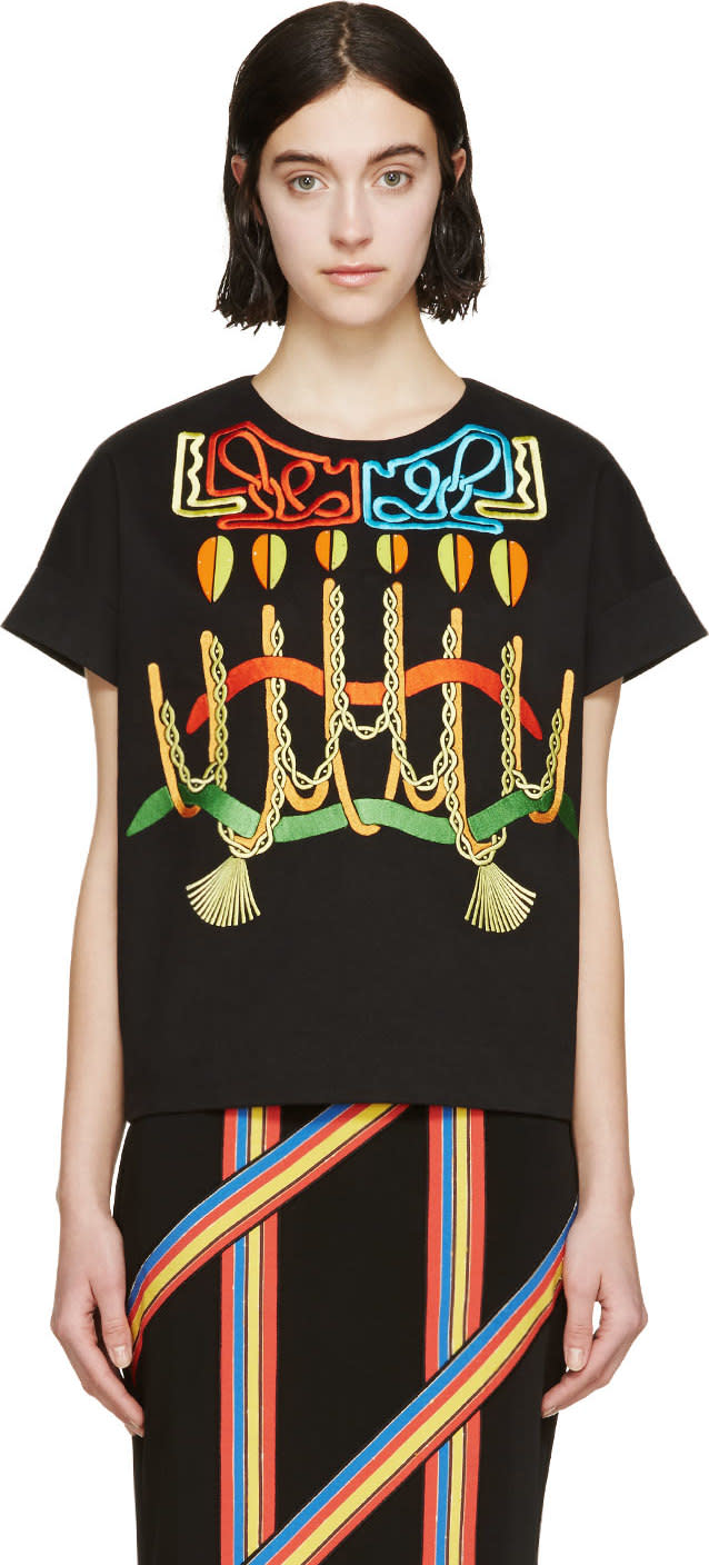 Peter Pilotto Black Embroidered Top