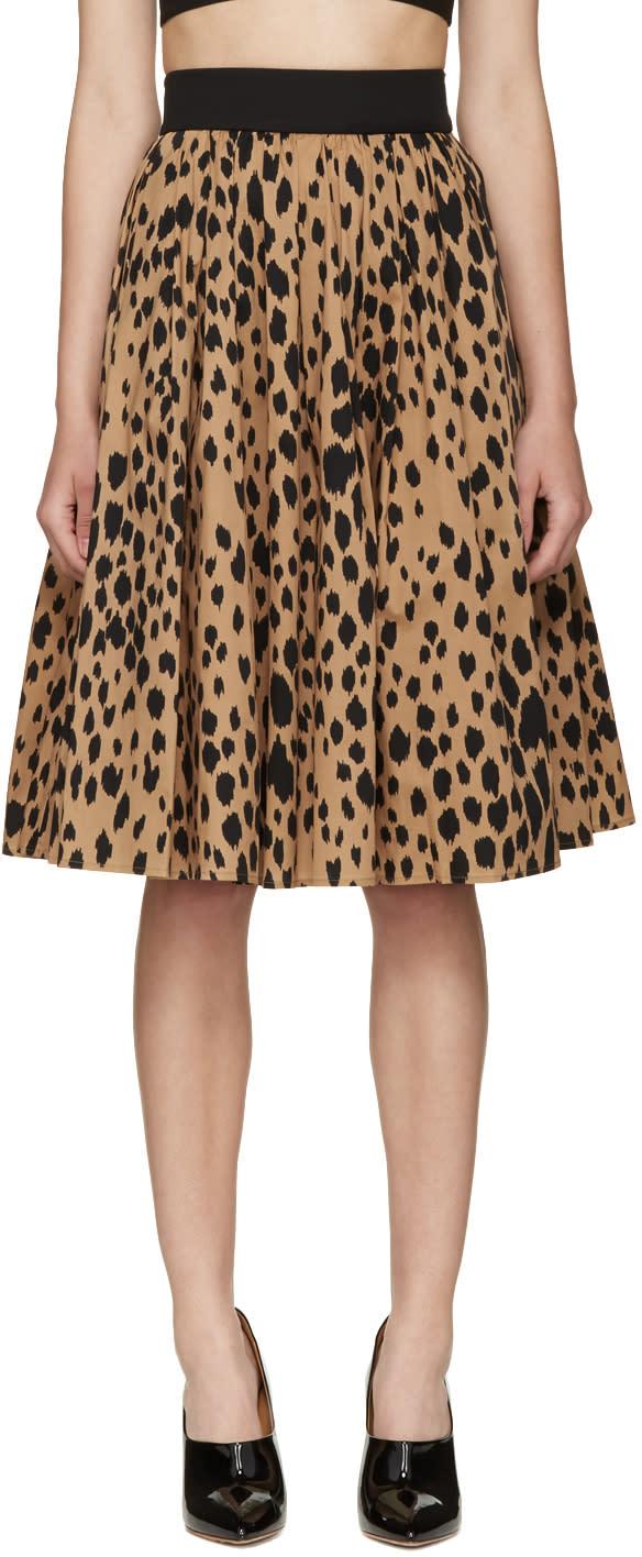 Image of Fausto Puglisi Black Animal Print Pleated Skirt