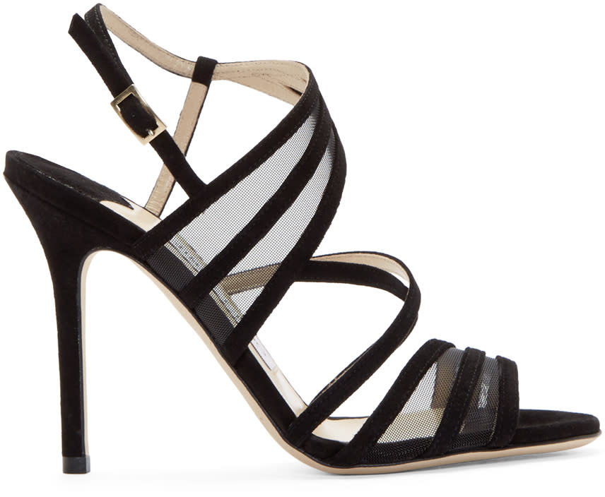 Jimmy Choo Black Suede and Mesh Visby Sandals