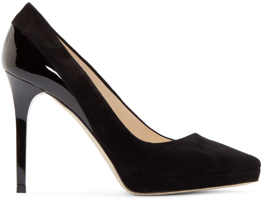 Jimmy Choo Black Suede and Patent Rudy Pumps