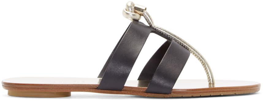 Jimmy Choo Black Metallic Leather Sandals