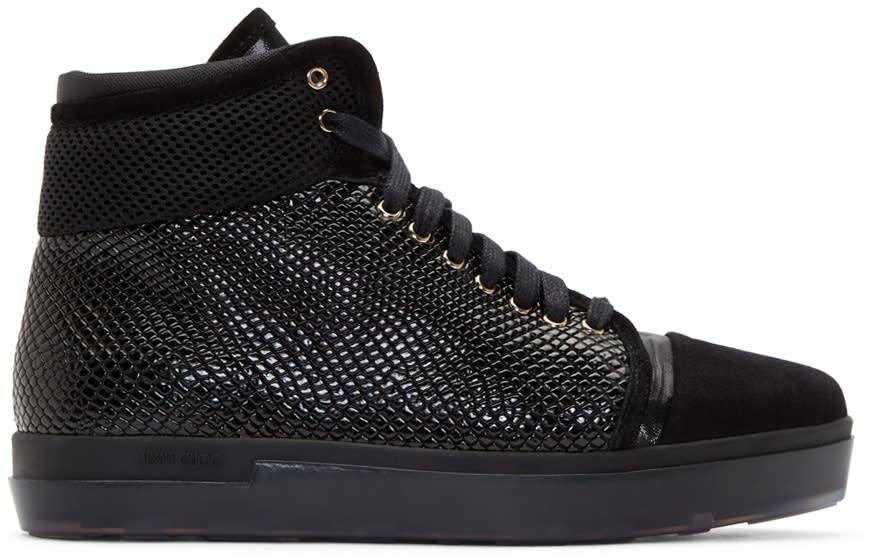 Jimmy Choo Black Patchwork Bronx High-top Sneakers