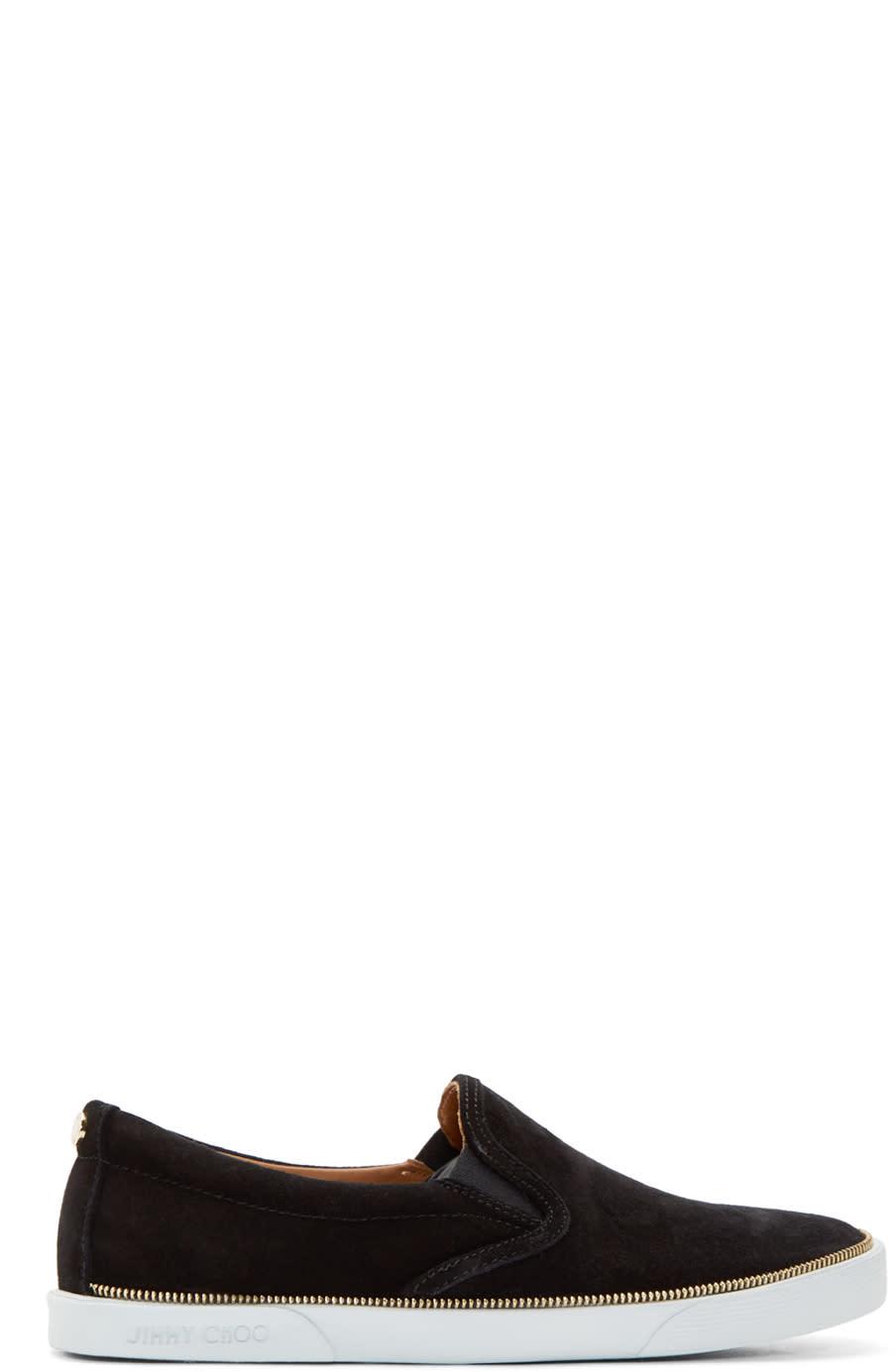 Jimmy Choo Black Suede Zip Trim Sneakers