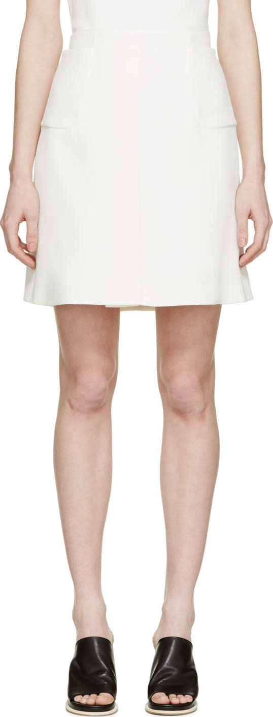 Giambattista Valli Ivory Silk Crepe Pocket Skirt