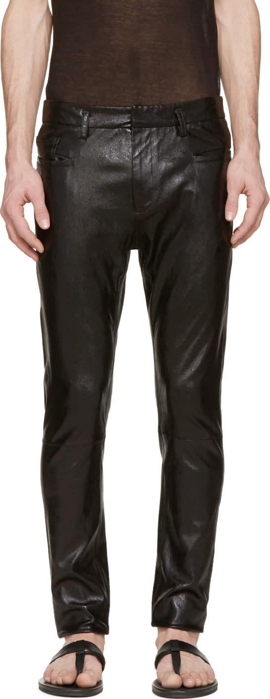 Haider Ackermann Black Shimmer Leather Skinny Trousers