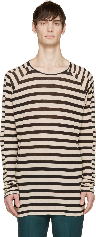 Haider Ackermann Black and Ecru Striped Ribbed Long Sleeve Shirt