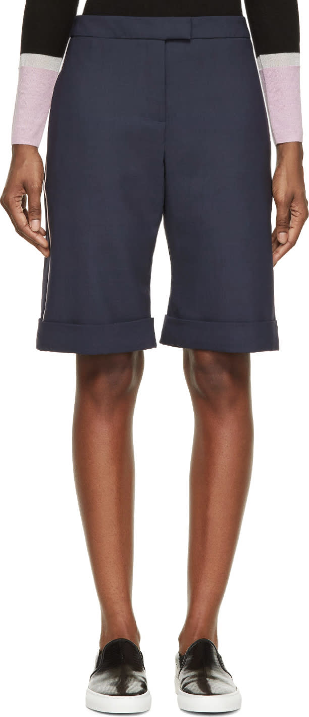 Image of Mother Of Pearl Navy Wool Tailoring Rolled Cuffs Shorts