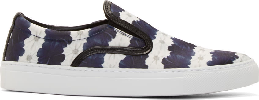 Image of Mother Of Pearl White and Navy Floral Stripe Achilles Slip-on Sneakers