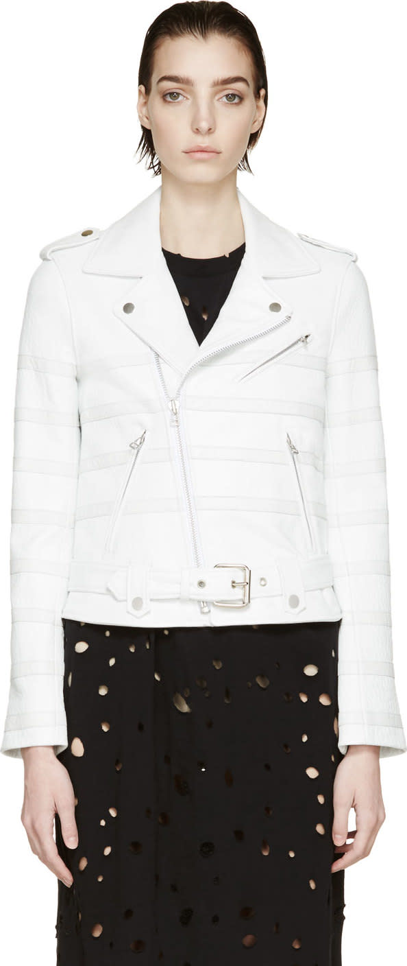 Each X Other White Striped Biker Jacket