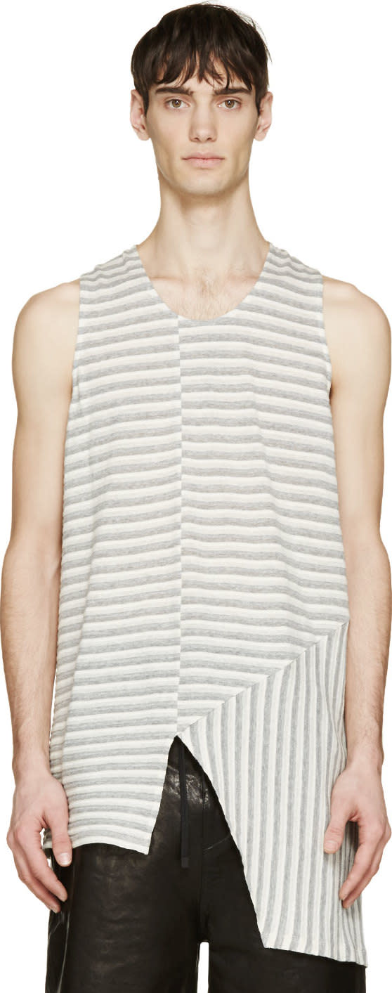 Image of Siki Im Beige and Grey Bionic Jersey Tank Top