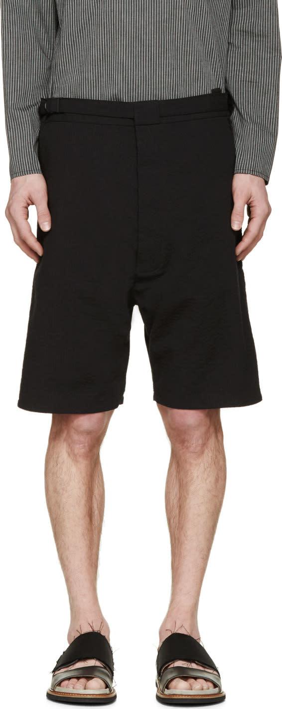 Siki Im Black Seersucker Shorts