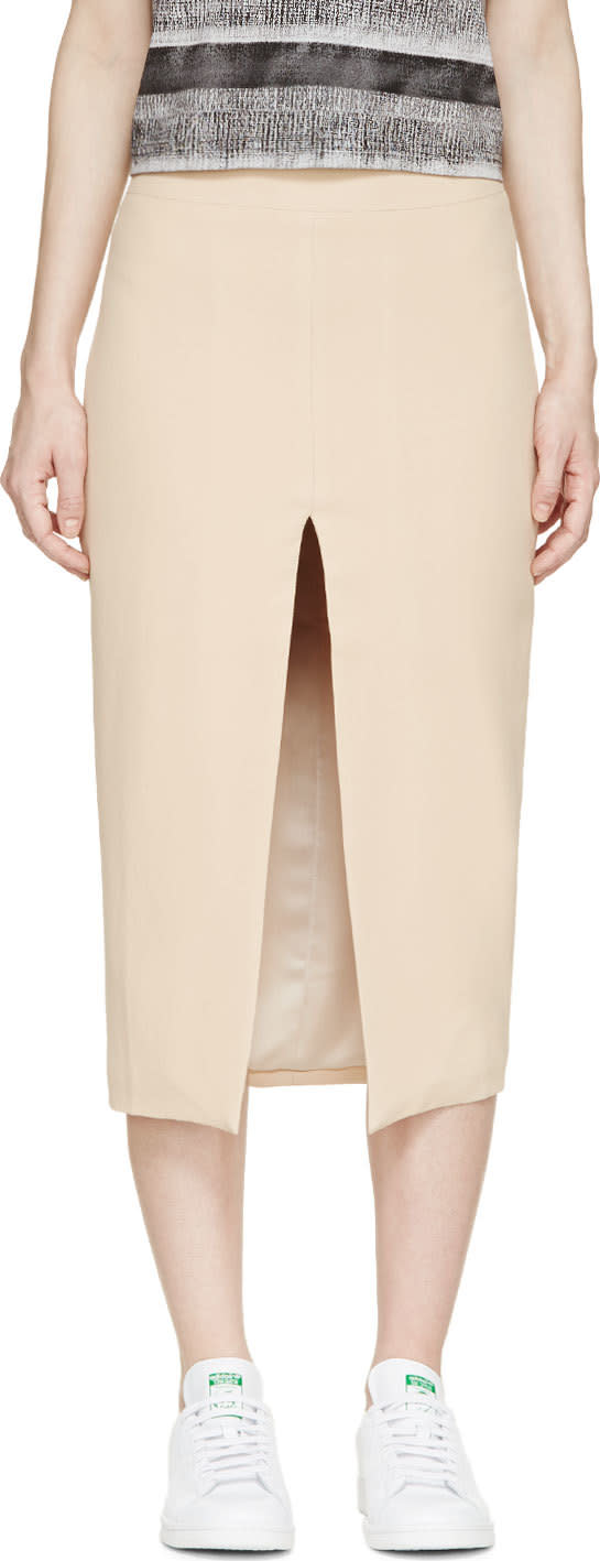 Image of Filles A Papa Nude Crêpe Split Pencil Skirt