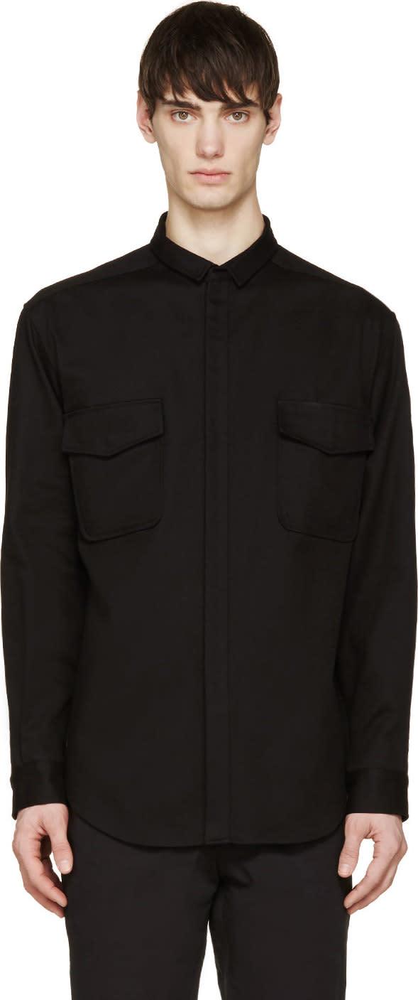 Moncler Gamme Rouge Black Gabardine Utility Shirt