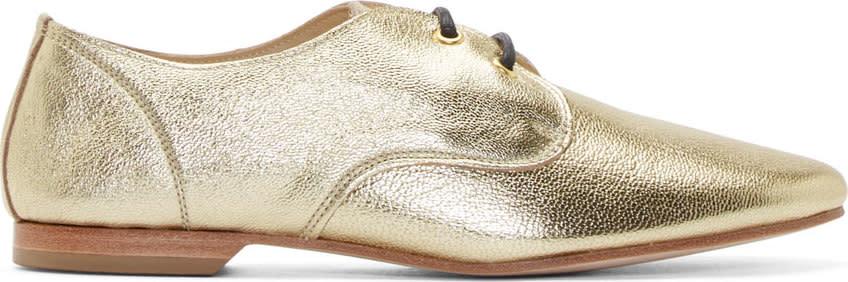 Yohji Yamamoto Gold Grained Leather Derbys