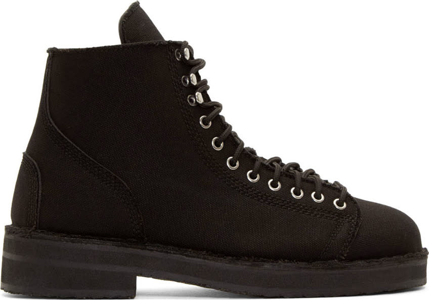 Yohji Yamamoto Black Canvas and Leather Combat Boots