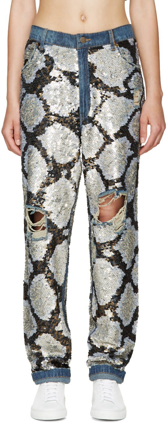 Ashish Silver Sequinned Destroyed Jeans