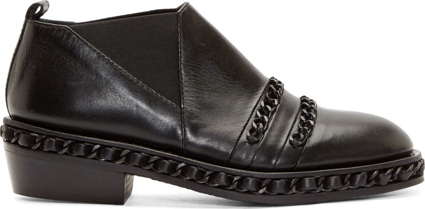 Image of Christian Dada Black Chain Trim Western Shoes
