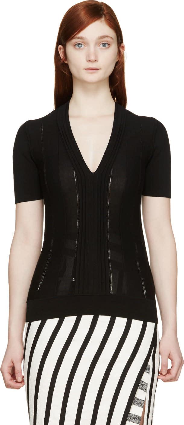 Burberry London Black Pleated T-shirt