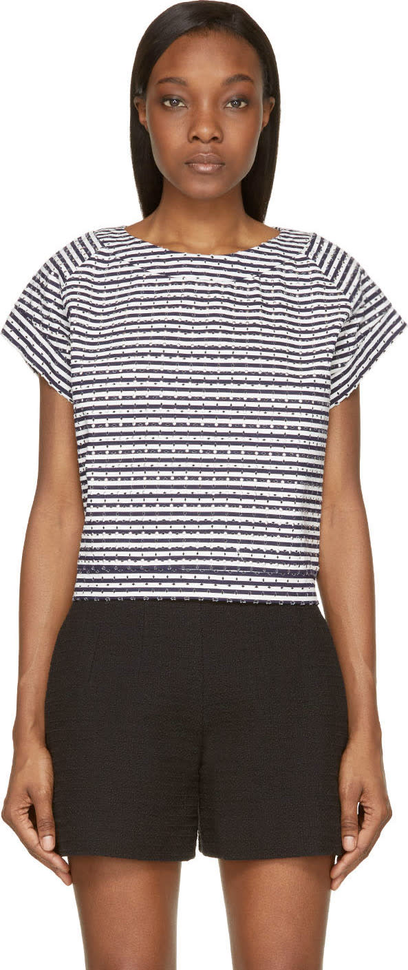 Image of Jay Ahr Navy and White Eyelet Studded Top